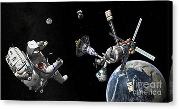 A Mars Cycler Travels By The Earth Canvas Print by Walter Myers