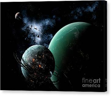 A Massive Space Station Orbits A Large Canvas Print by Brian Christensen