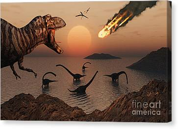 A Mighty T. Rex Roars From Overhead Canvas Print