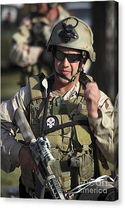 Fort Pierce Canvas Print - A Military Reserve Navy Seal Gives by Michael Wood
