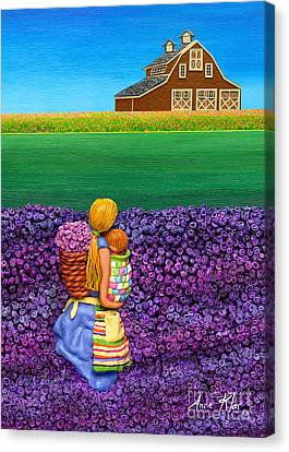 Maine Barns Canvas Print - A Moment - Crop Of Original - To See Complete Artwork Click View All by Anne Klar