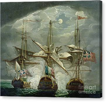 A Moonlit Battle Scene Canvas Print by Robert Cleveley