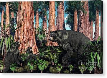 A Mother Arctodus Bear With Her Twin Canvas Print by Mark Stevenson