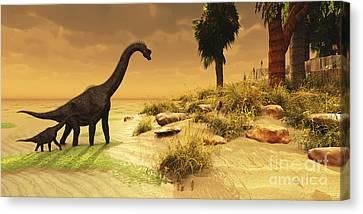 A Mother Brachiosaurus Dinosaur Canvas Print by Corey Ford
