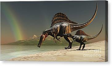 A Mother Spinosaurus Brings Canvas Print by Corey Ford
