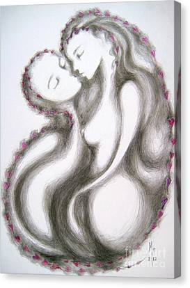 Canvas Print featuring the drawing A Mother's Gratitude by Marat Essex