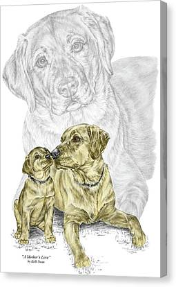 Canvas Print featuring the drawing A Mothers Love - Labrador Dog Print Color Tinted by Kelli Swan