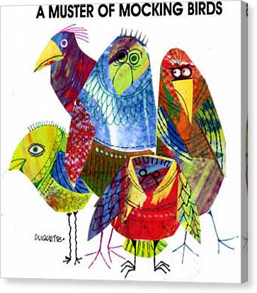 A Muster Of Mocking Birds Canvas Print by Steven Duquette