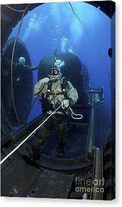 A Navy Seal Prepares To Launch One Canvas Print by Stocktrek Images