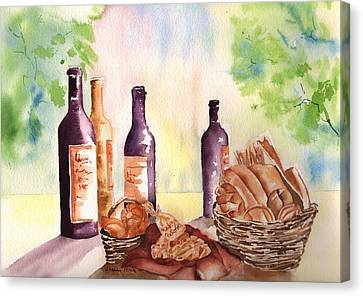 A Nice Bread And Wine Selection Canvas Print by Sharon Mick