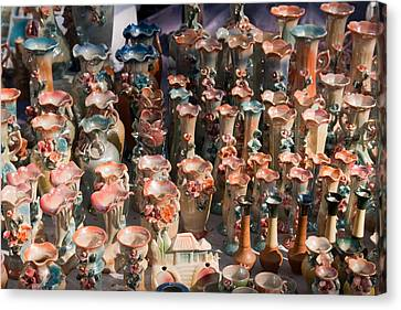 A Number Of Clay Vases And Figurines At The Surajkund Mela Canvas Print by Ashish Agarwal