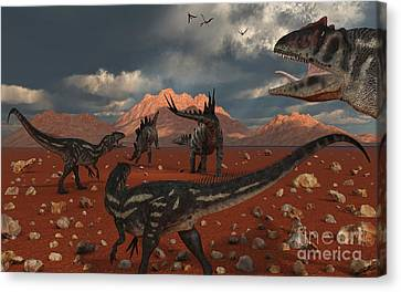 A Pack Of Allosaurus Dinosaurs Track Canvas Print by Mark Stevenson