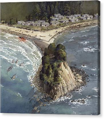 A Painting Depicts A Makah Indian Canvas Print by Richard Schlecht