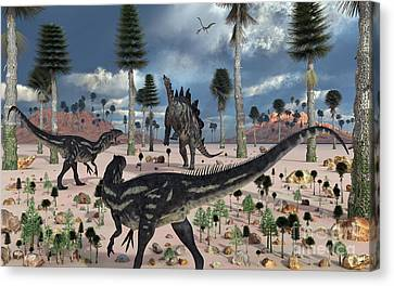 A Pair Of Allosaurus Dinosaurs Confront Canvas Print by Mark Stevenson