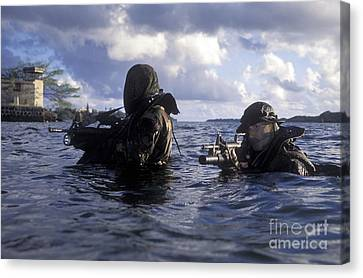 A Pair Of Navy Seal Combat Swimmers Canvas Print by Michael Wood