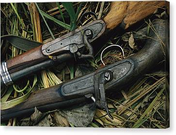 A Pair Of Old Flint-type Rifles Lying Canvas Print by Steve Winter