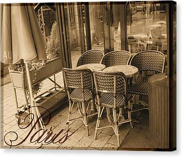 A Parisian Sidewalk Cafe In Sepia Canvas Print by Jennifer Holcombe