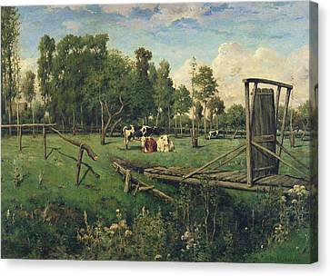 A Pasture In Normandy Canvas Print by Constant-Emile Troyon
