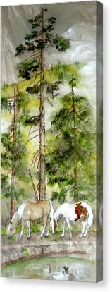 Canvas Print featuring the painting A Peaceful Scene by Debbi Saccomanno Chan