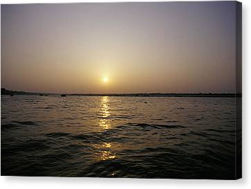 A Peaceful Scene Of The Holy Ganges Canvas Print