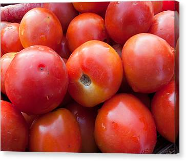 A Pile Of Luscious Bright Red Tomatoes Canvas Print by Ashish Agarwal