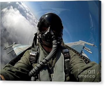 A Pilot In The Cockpit Of An F-16 Canvas Print by Stocktrek Images