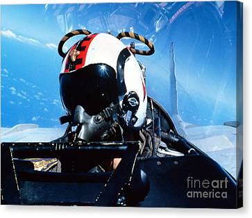 A Pilot Sitting In The Back Canvas Print by Dave Baranek