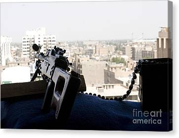 A Pk 7.62mm Machine Gun Nest On Top Canvas Print by Terry Moore