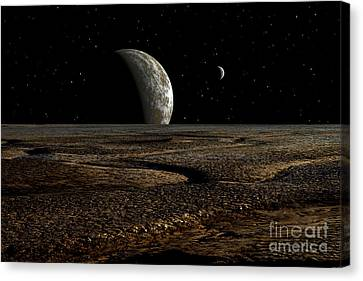 Star Evolution Canvas Print - A Planet And Its Moon Are Dimly Lit by Frank Hettick