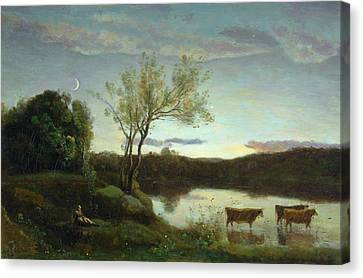 A Pond With Three Cows And A Crescent Moon Canvas Print by Jean Baptiste Camille Corot