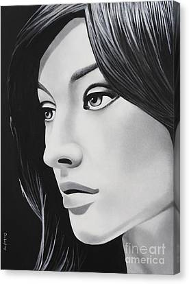 A Portrait In Black And White Canvas Print by Dan Lockaby