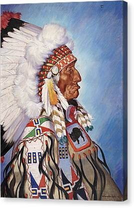 A Portrait Of 95-year Old Sioux Chief Canvas Print by W. Langdon Kihn