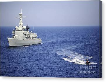 A Portuguese Navy Team In An Inflatable Canvas Print