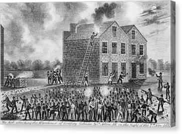 A Pro-slavery Mob Burning Canvas Print by Everett