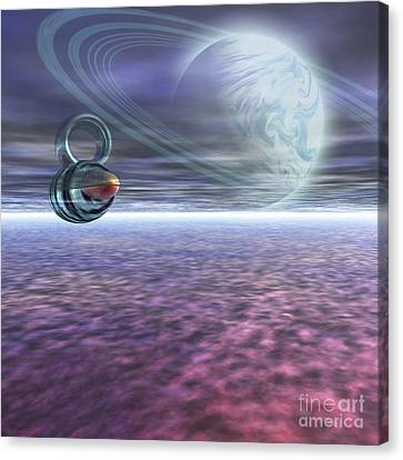 A Probe From Earth Is Sent To Jupiter Canvas Print by Corey Ford