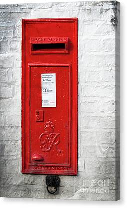 A Quaint Essential English Post Box Canvas Print by David  Hollingworth