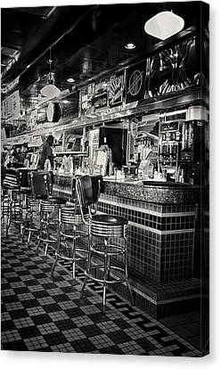 Old Diner Bar Stools Canvas Print - A Quarter To Three... by Boyd Alexander