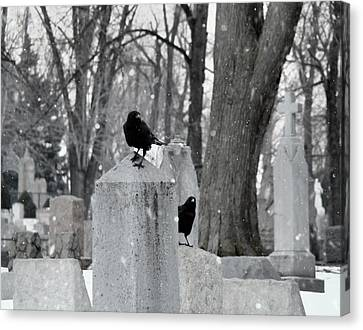 A Quiet Winter Day At The Graveyard Canvas Print by Gothicrow Images
