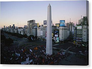A Rally At The Base Of The Obelisk Canvas Print by Pablo Corral Vega