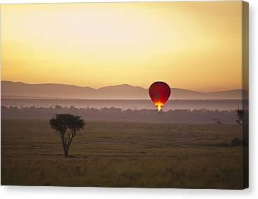 A Red Hot Air Balloon Takes Flight Canvas Print by David DuChemin