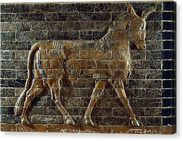 A Relief Depicts A Bull Canvas Print by Lynn Abercrombie