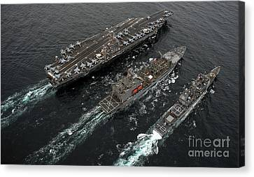 St George Canvas Print - A Replenishment At Sea Between Uss by Stocktrek Images