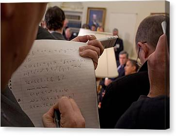 A Reporter Takes Shorthand Notes While Canvas Print by Everett