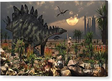A Reptoid Being And A Stegosaurus Canvas Print by Mark Stevenson