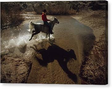 A Rider Retraces The Original Pony Canvas Print
