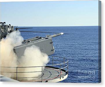 A Rim-7 Sea Sparrow Is Launched Canvas Print by Stocktrek Images