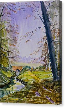Canvas Print featuring the painting A River Flows Gently by Rob Hemphill