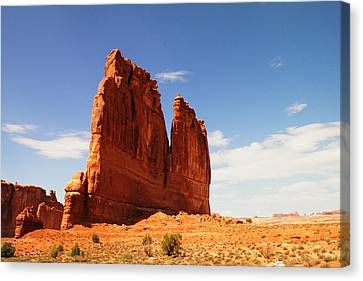 A Rock At Arches Canvas Print by Jeff Swan