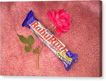 A Rose And A Babyruth Canvas Print by Tom Zukauskas