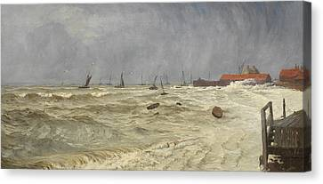 A Rough Day At Leigh Canvas Print by William Pye